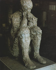 Plaster cast of human beeing in Pompeii