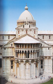 The apse of the cathedral in Pisa dominated by its dome grande in Pisa