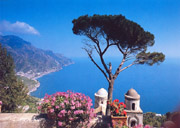 Gorgeous sea-view from Villa Rufolo at Ravello on the Amalfi Coast