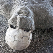 Plaster cast of human being in Pompeii