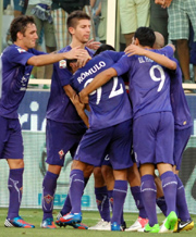 Fiorentina players celebrates after a goal