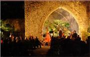 Concert in Villa Rufolo (Ravello) with piano, voice and harp